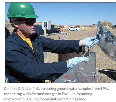 groundwater screening for methane in Pavillion, Wyoming
